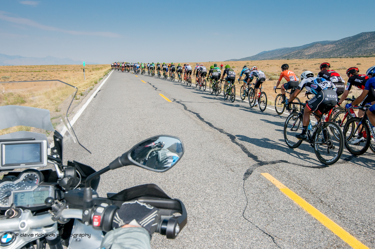 View from my office on the photo moto during Stage 4, South Jordan City to west desert Pony Express Route and back,  2017 LHM Tour of Utah (Photo by Dave Richards, daverphoto.com)