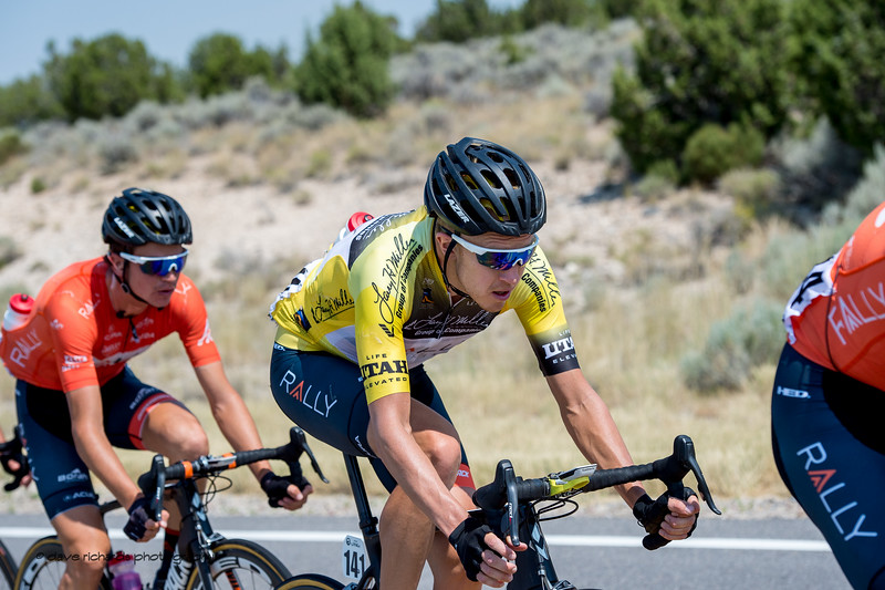 Sandiwiched in by his Rally Cycling teammates, Rob Britton, race leader  is a study in complete concentration. Stage 4, South Jordan City to west desert Pony Express Route and back,  2017 LHM Tour of Utah (Photo by Dave Richards, daverphoto.com)