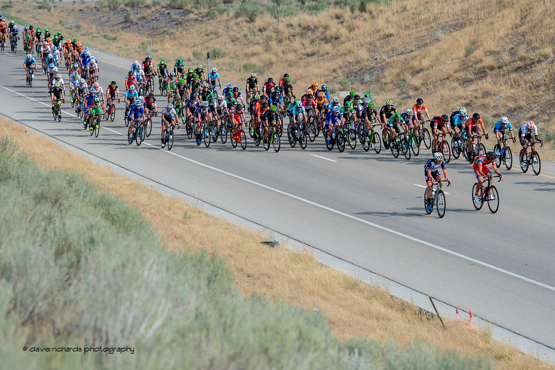 The peloton starts to organize along the Mountain View Corridor Highway on Stage 4, South Jordan City to west desert Pony Express Route and back,  2017 LHM Tour of Utah (Photo by Dave Richards, daverphoto.com)