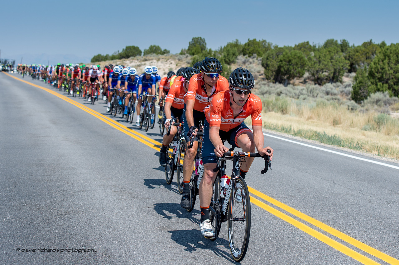 Teammates from various teams line up & work together on a short descent trying to catch the breakaway. Stage 4, South Jordan City to west desert Pony Express Route and back,  2017 LHM Tour of Utah (Photo by Dave Richards, daverphoto.com)