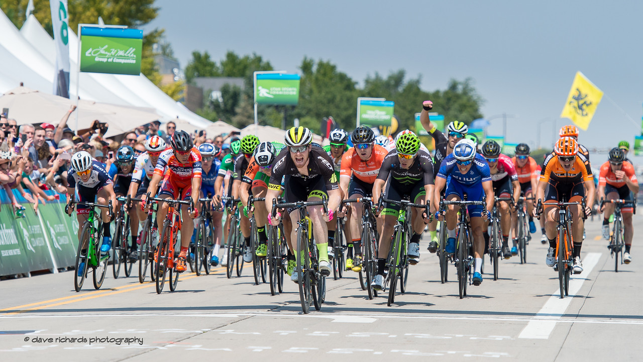 John Murphy (Holowesko/Citadel Racing P/B Hincapie) wins a high speed sprint finish to capture Stage 4, South Jordan City to west desert Pony Express Route and back,  2017 LHM Tour of Utah (Photo by Dave Richards, daverphoto.com)