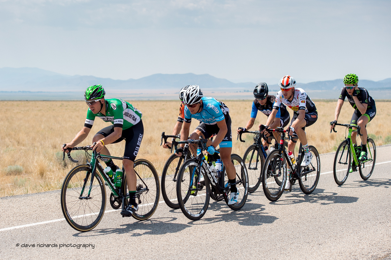 The final breakaway hammering the pace hoping to stay away from the peloton for the stage win on Stage 4, South Jordan City to west desert Pony Express Route and back,  2017 LHM Tour of Utah (Photo by Dave Richards, daverphoto.com)
