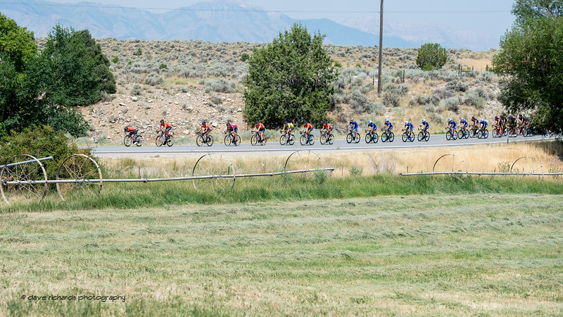 Freshly mowed fields offer a brief patch of green to the riders as they pass by  during Stage 4, South Jordan City to west desert Pony Express Route and back,  2017 LHM Tour of Utah (Photo by Dave Richards, daverphoto.com)