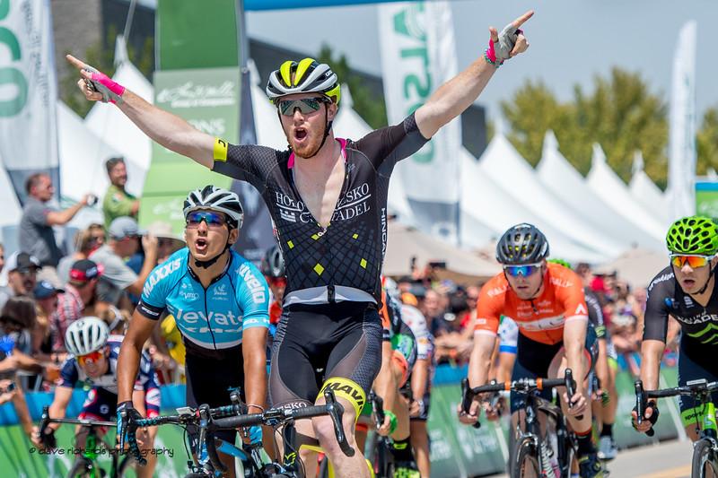 John Murphy (Holowesko/Citadel Racing P/B Hincapie) celebrates winning Stage 4, South Jordan City to west desert Pony Express Route and back,  2017 LHM Tour of Utah (Photo by Dave Richards, daverphoto.com)