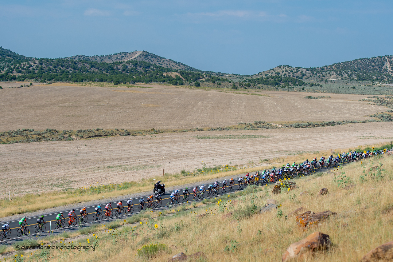 The peloton stretches out on the climb to Five Mile Pass. Stage 4, South Jordan City to west desert Pony Express Route and back,  2017 LHM Tour of Utah (Photo by Dave Richards, daverphoto.com)