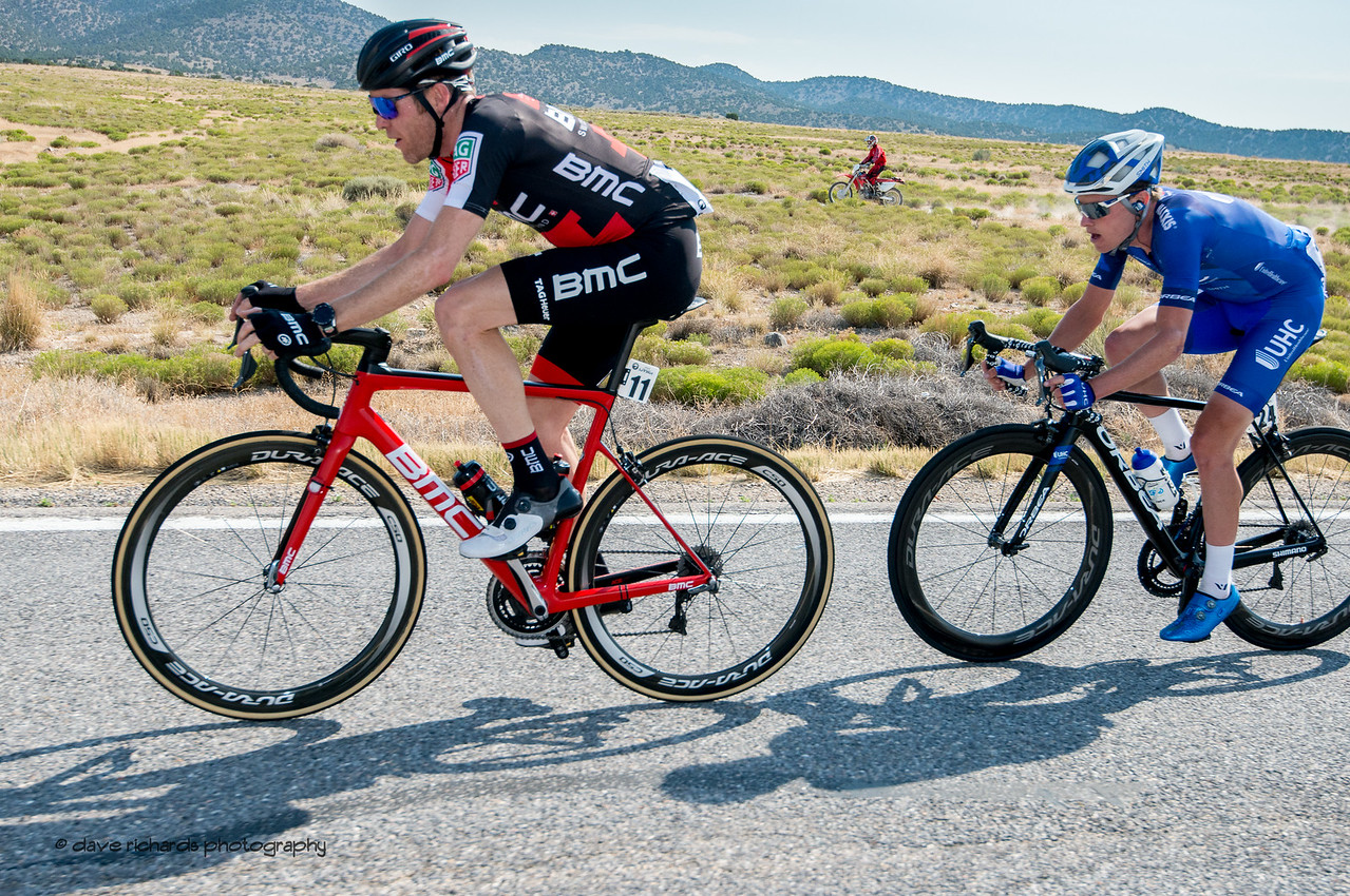 Even the dirt bikers can't keep up with Brent Bookwalter (BMC Racing) & Gavin Mannion (UHC) on the road to Rush Valley. Stage 4, South Jordan City to west desert Pony Express Route and back,  2017 LHM Tour of Utah (Photo by Dave Richards, daverphoto.com)