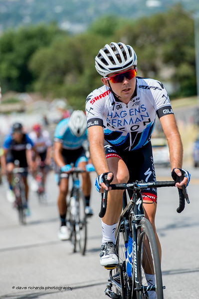A young Axeon Hagens Berman rider leads a group up the Bountiful Bench climb. Stage 5, Layton to Bountiful,  2017 LHM Tour of Utah (Photo by Dave Richards, daverphoto.com)