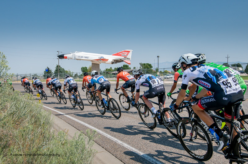 Takeoff!  Riders exit from a brief foray onto Hill Air Force Base on Stage 5, Layton to Bountiful,  2017 LHM Tour of Utah (Photo by Dave Richards, daverphoto.com)