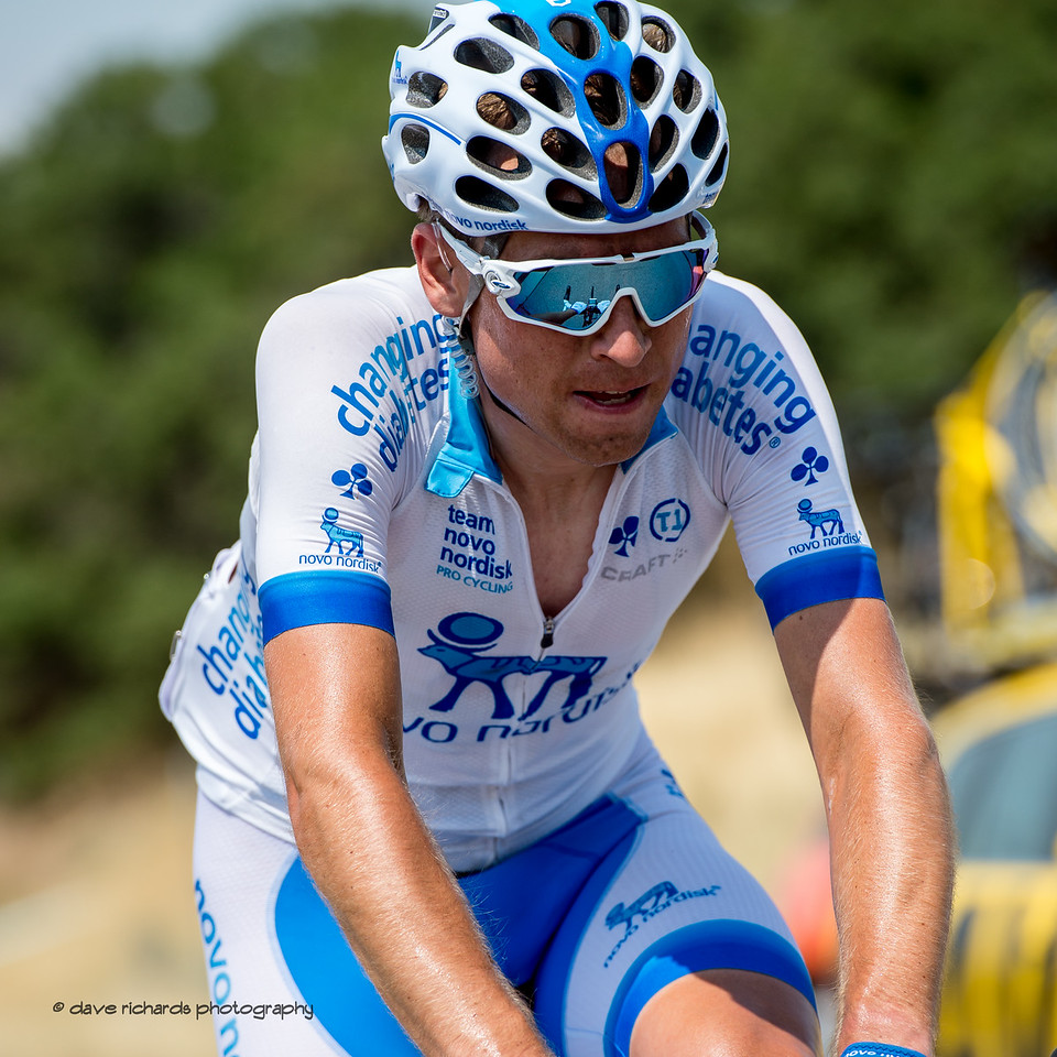 Novo Nordisk rider suffers on the diffiuclt Bountiful Bench climb. Stage 5, Layton to Bountiful,  2017 LHM Tour of Utah (Photo by Dave Richards, daverphoto.com)
