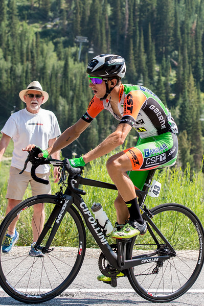 Giulio Ciccone  (BARDIANI CSF) makes a daring solo breakaway and goes on to win Stage 6, Soldier Hollow  to Snowbird Ski Resort,  2017 LHM Tour of Utah (Photo by Dave Richards, daverphoto.com)