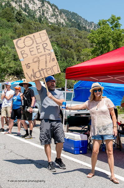Fans along Tanners Flat on the climb up Little Cottonwood Canyon. Stage 6, Soldier Hollow  to Snowbird Ski Resort,  2017 LHM Tour of Utah (Photo by Dave Richards, daverphoto.com)