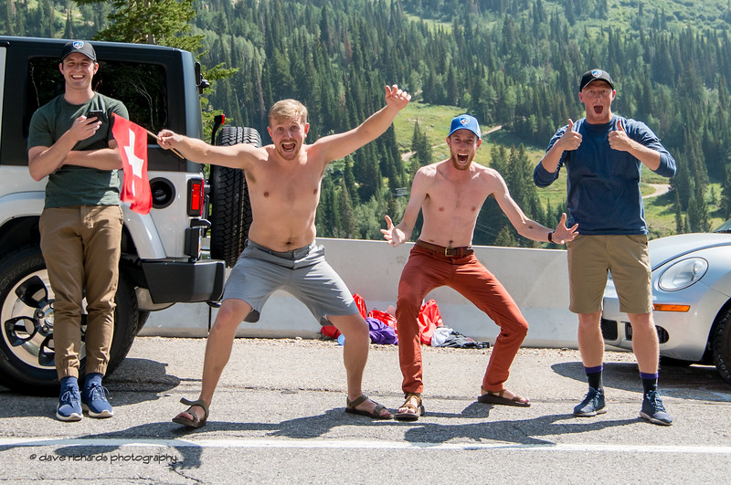 Enthusiastic fans line the road of Little Cottonwood Canyon on Stage 6, Soldier Hollow  to Snowbird Ski Resort,  2017 LHM Tour of Utah (Photo by Dave Richards, daverphoto.com)