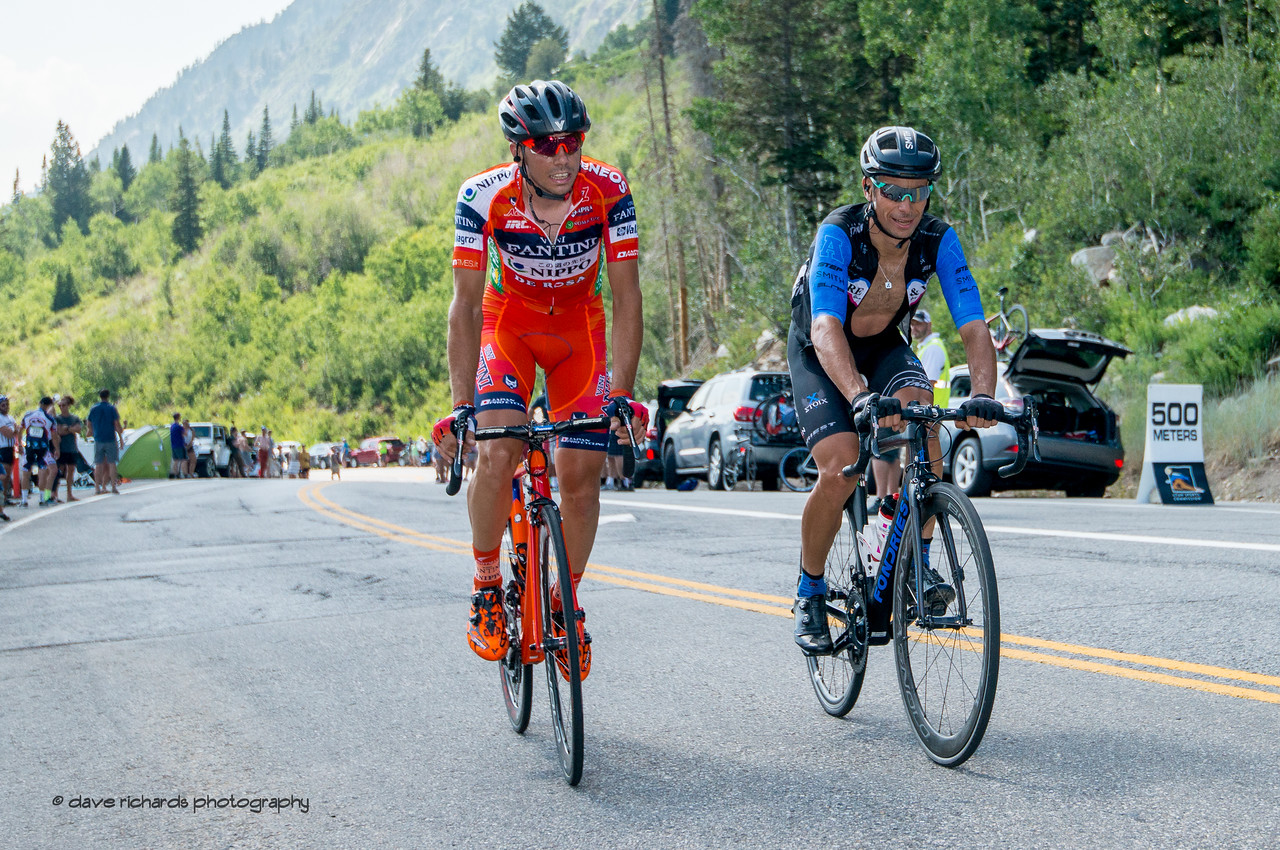 Exhausted riders pass the 500 meters to go sign on the Little Cottonwood Canyon climb during Stage 6, Soldier Hollow  to Snowbird Ski Resort,  2017 LHM Tour of Utah (Photo by Dave Richards, daverphoto.com)