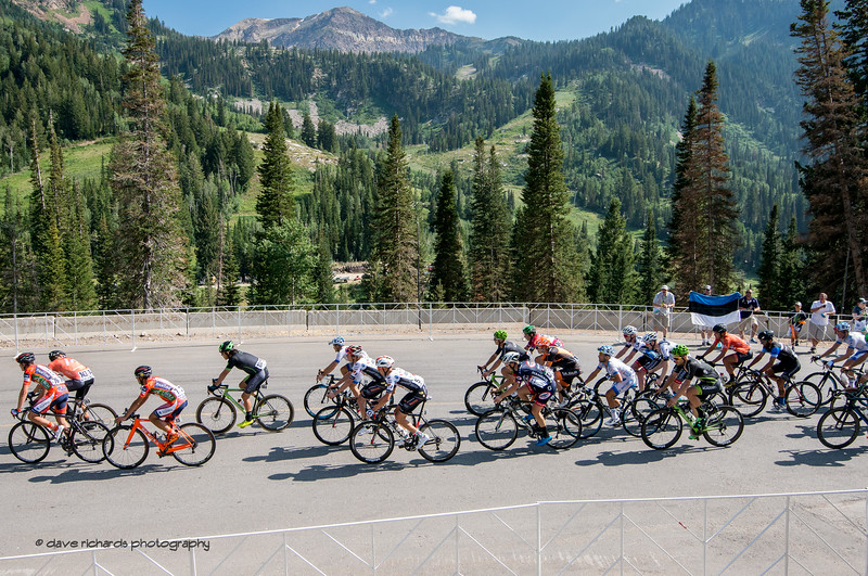 Rugged mountains form the backgdrop as the gruppetto arrives at Snowbird completing Stage 6, Soldier Hollow  to Snowbird Ski Resort,  2017 LHM Tour of Utah (Photo by Dave Richards, daverphoto.com)