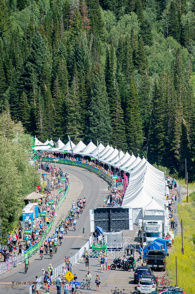 Riders roll down the finishing stretch at Snowbird Ski Resorit to complete Stage 6, Soldier Hollow  to Snowbird Ski Resort,  2017 LHM Tour of Utah (Photo by Dave Richards, daverphoto.com)