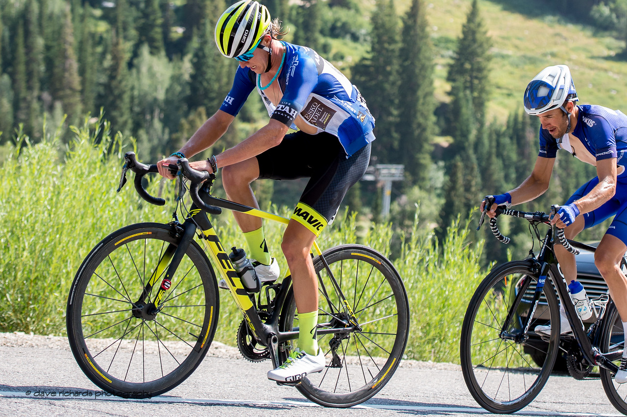 Utah rider, TJ Eisenhart, powers up  the steep Little Cottonwood Canyon climb on Stage 6, Soldier Hollow  to Snowbird Ski Resort,  2017 LHM Tour of Utah (Photo by Dave Richards, daverphoto.com)