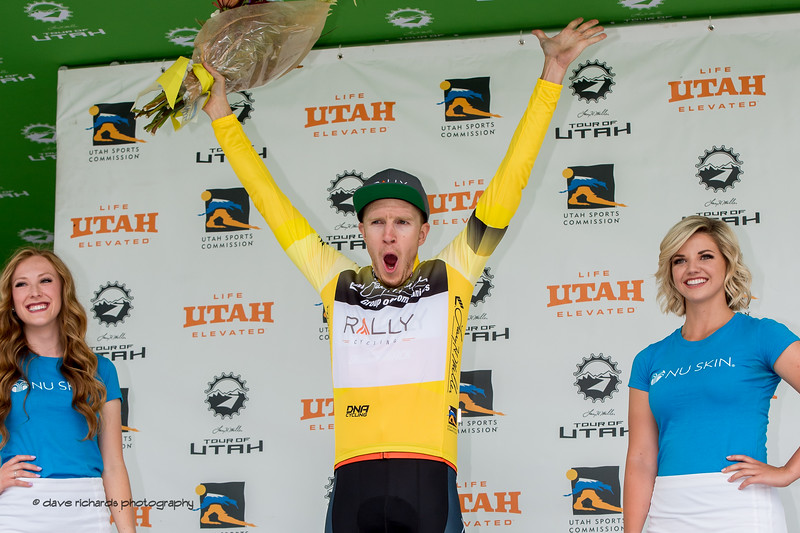 An emotional Rob Britton (Rally Cycling) lets out a cheer after winning the overall title of the 2017 Larry H. Miller Tour of Utah.,  2017 LHM Tour of Utah (Photo by Dave Richards, daverphoto.com)