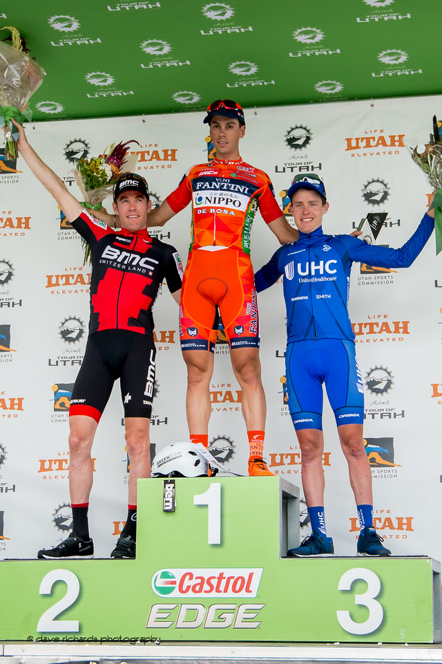 Stage 7 podium L-R: Brent Bookwalter (BMC Racing), Marco Canola  (NIPPO - VINI FANTINI) & Gavin Mannion (United Healthcare), Salt Lake City Circuit Race,  2017 LHM Tour of Utah (Photo by Dave Richards, daverphoto.com)
