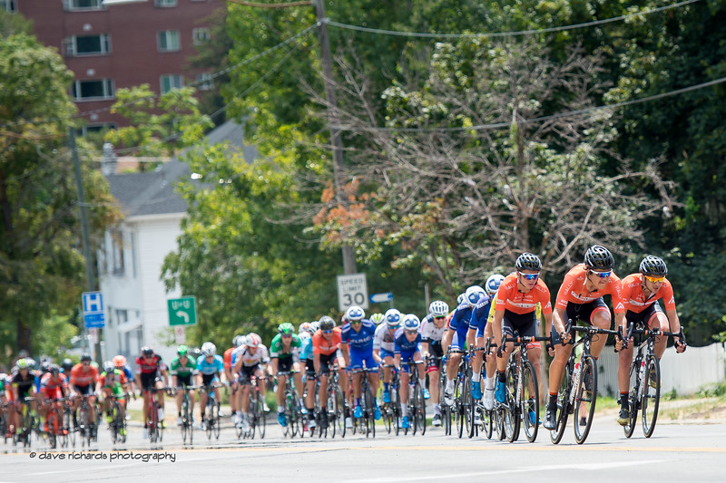 Rally Cycling leads the charge up 13th East on Stage 7, Salt Lake City Circuit Race,  2017 LHM Tour of Utah (Photo by Dave Richards, daverphoto.com)