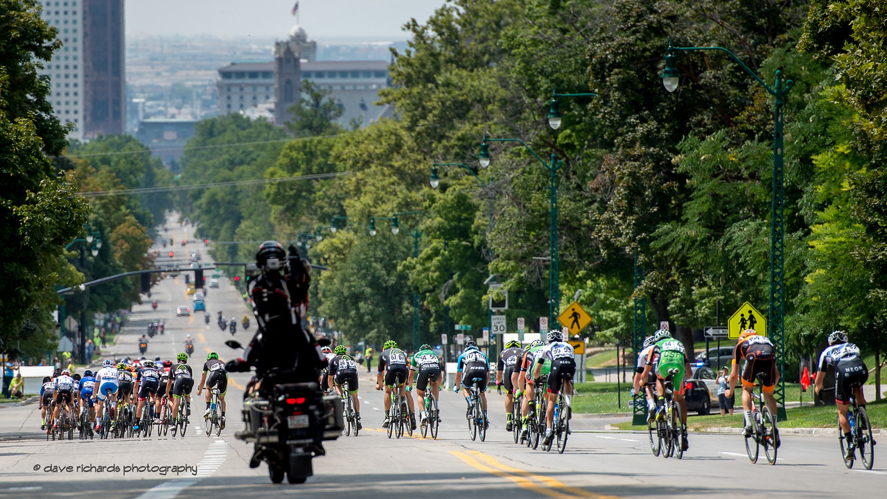 Riders begin the downhill stretch along South Temple Street. Stage 7, Salt Lake City Circuit Race,  2017 LHM Tour of Utah (Photo by Dave Richards, daverphoto.com)