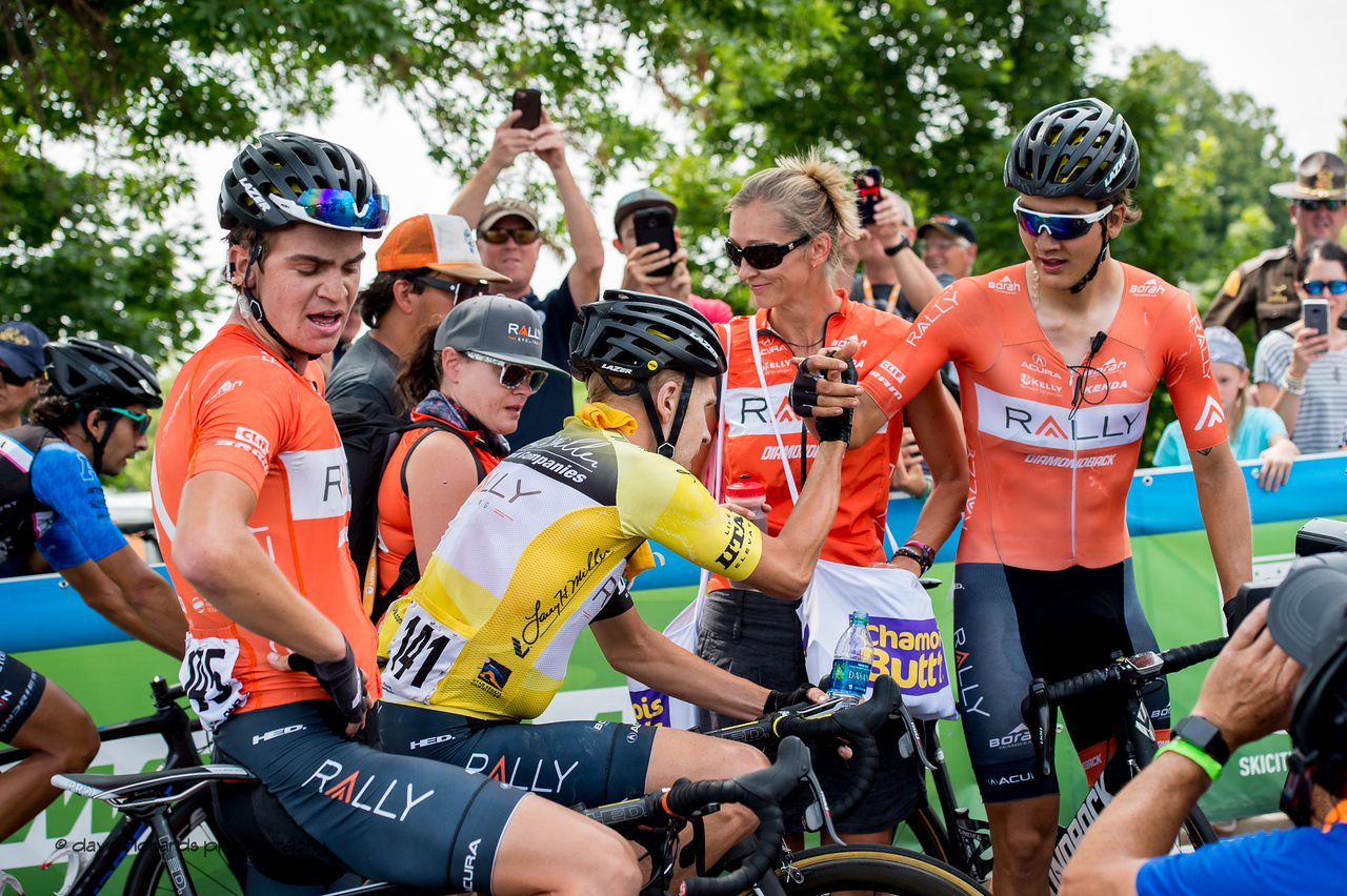 Rob Britton (Rally Cycling) is congratulated by his teammates after taking the overall win of the 2017 Larry H. Miller Tour of Utah.  2017 LHM Tour of Utah (Photo by Dave Richards, daverphoto.com)