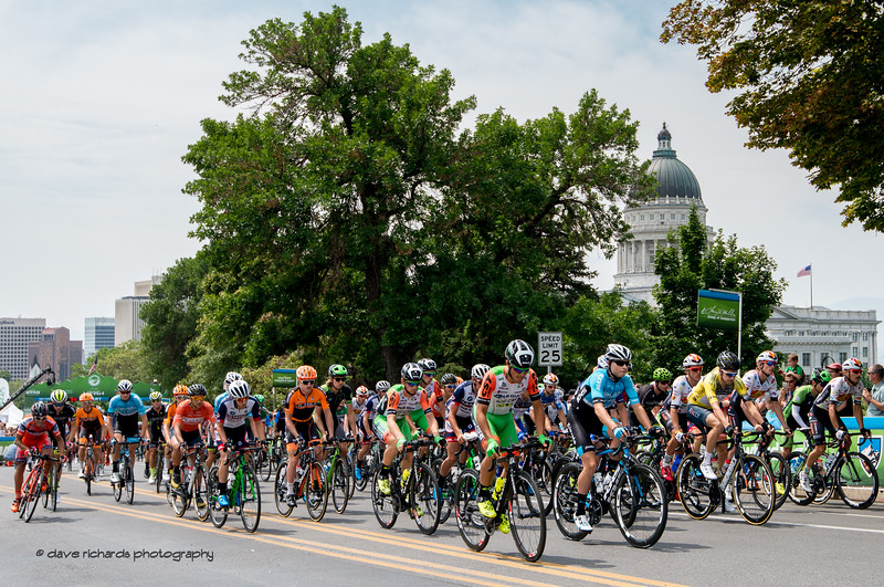 The peloton rolls out past the Utah State Capitol Building at the start of Stage 7, Salt Lake City Circuit Race,  2017 LHM Tour of Utah (Photo by Dave Richards, daverphoto.com)