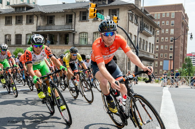 The venerable Alta Club looks on as the riders blast the turn off of South Temple Street onto State Street. Stage 7, Salt Lake City Circuit Race,  2017 LHM Tour of Utah (Photo by Dave Richards, daverphoto.com)