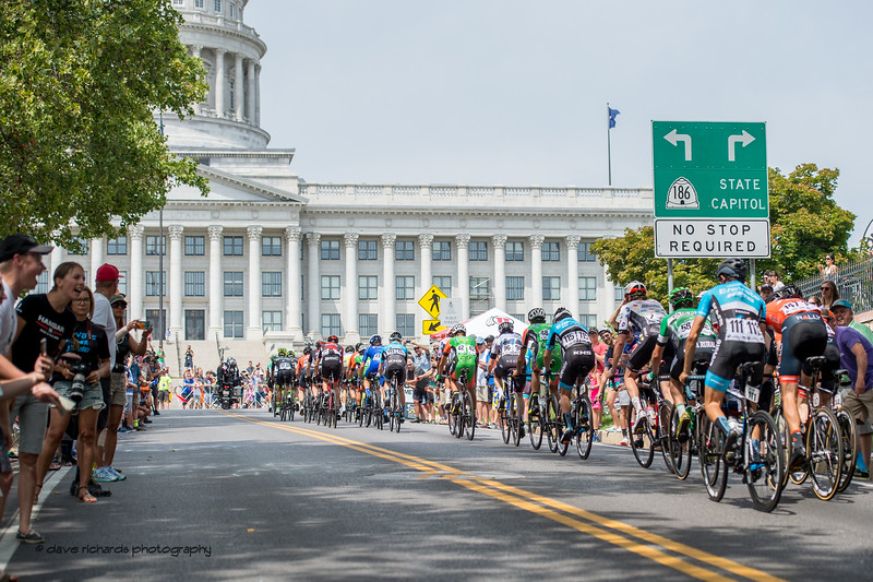 Riders crest the top of State Street as they approach the Utah State Capitol Building. Stage 7, Salt Lake City Circuit Race,  2017 LHM Tour of Utah (Photo by Dave Richards, daverphoto.com)