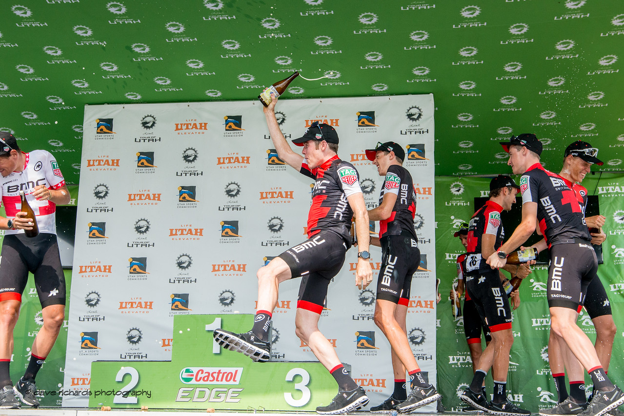 BMC Racing teammates celebrate with the bubbly after winning the Best Team award at the  2017 LHM Tour of Utah (Photo by Dave Richards, daverphoto.com)