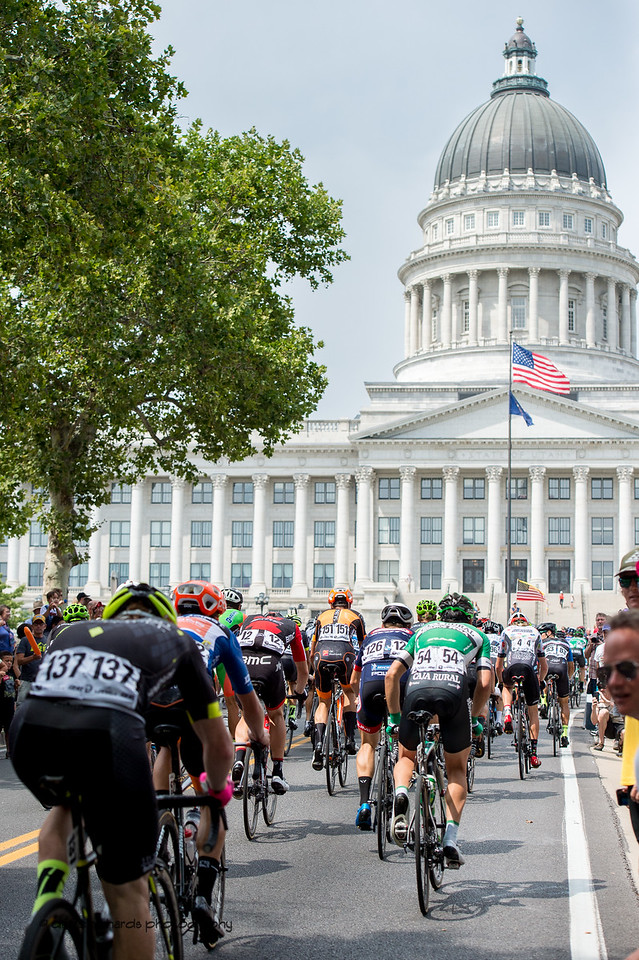 The Utah State Capitol Building awaits the riders at the top of the State Street climb. Stage 7, Salt Lake City Circuit Race,  2017 LHM Tour of Utah (Photo by Dave Richards, daverphoto.com)