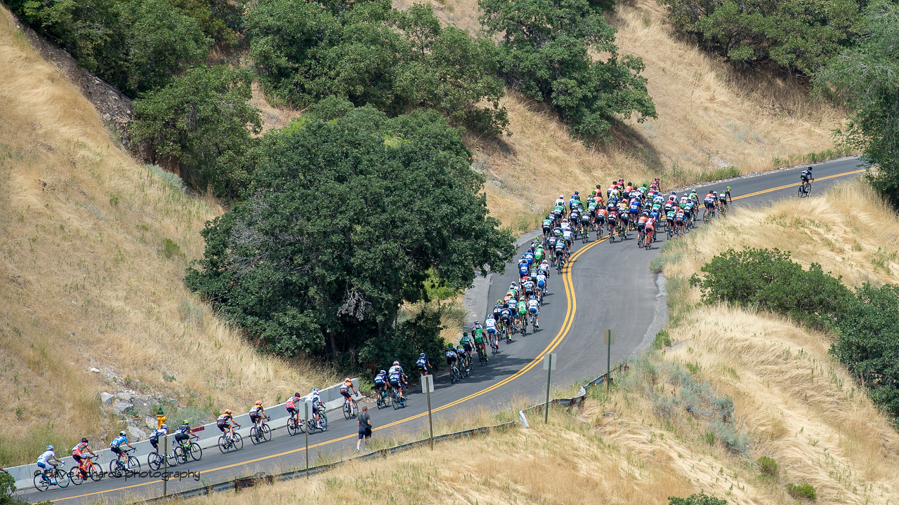 The road snakes through winding bends during the netural start above Memory Grove. Stage 7, Salt Lake City Circuit Race,  2017 LHM Tour of Utah (Photo by Dave Richards, daverphoto.com)