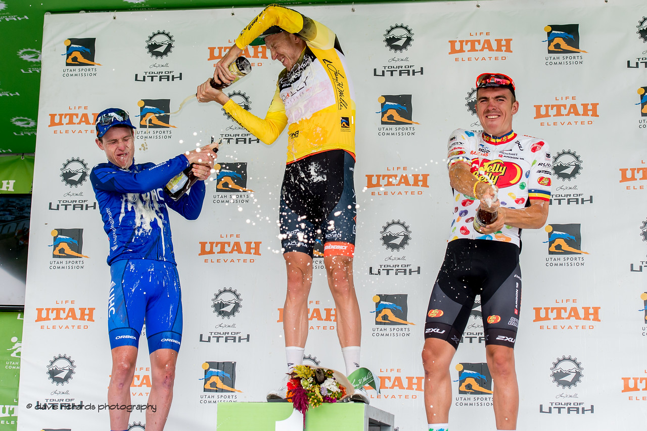 To the spoils go the victors - top three riders of the  2017 LHM Tour of Utah (Photo by Dave Richards, daverphoto.com)
