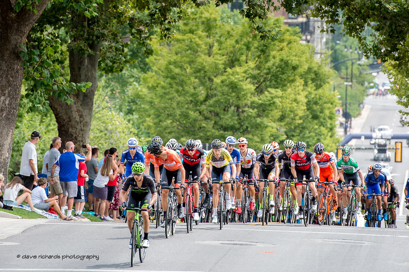 Rob Britton (Rally Cycling) stays in front out of danger's way on the steep climb up State Street. Stage 7, Salt Lake City Circuit Race,  2017 LHM Tour of Utah (Photo by Dave Richards, daverphoto.com)
