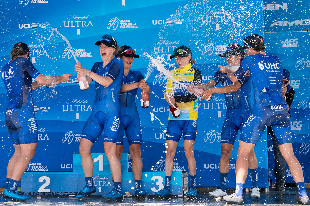 United Healthcare women celebrate winning the Best Team award.  Overall Awards, 2018 Amgen Tour of California cycling race (Photo by Dave Richards, daverphoto.com)
