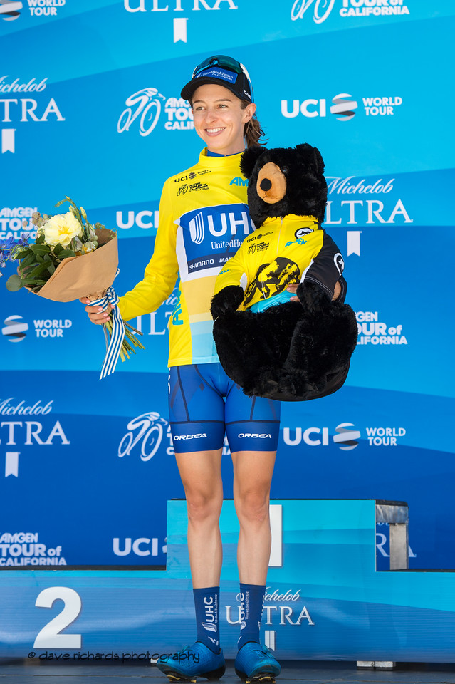 Katy Hall (United Healthcare) Yellow Jersey Race Winner. Overall Awards, 2018 Amgen Tour of California cycling race (Photo by Dave Richards, daverphoto.com)