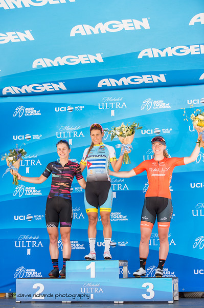 Women's Stage 3 podium L-R: Alexis Ryan (Canyon) Artenis Sierra (Astana) Emma White (Rally). Overall Awards, 2018 Amgen Tour of California cycling race (Photo by Dave Richards, daverphoto.com)