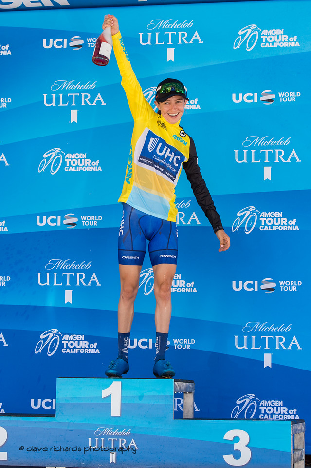 Katy Hall (United Healthcare) overall race winner. Overall Awards, 2018 Amgen Tour of California cycling race (Photo by Dave Richards, daverphoto.com)