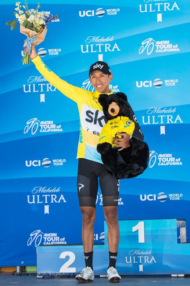 Egan Bernal (Team Skly) Yellow Jersey Race Winner. Overall Awards, 2018 Amgen Tour of California cycling race (Photo by Dave Richards, daverphoto.com)