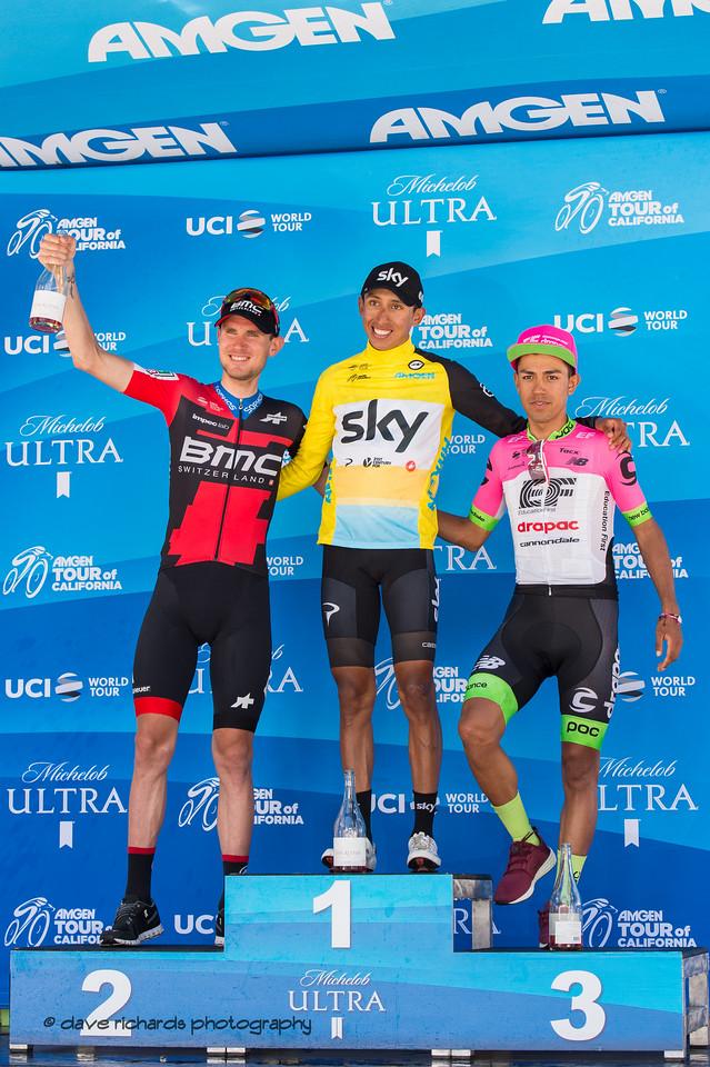 Men's general classification podium L-R: Tejay Van Garderen (BMC) Egan Bermal (Team Sky) Daniel Martinez (EF Education First Drapac). Overall Awards, 2018 Amgen Tour of California cycling race (Photo by Dave Richards, daverphoto.com)