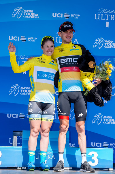Kendall Ryan (Tibco) and Tejay Van Garderen (BMC) are the men's and women's yellow jersey leaders. after Women's Stage One & Men's Stage Five, Stockton to Elk Grove, 2018 Amgen Tour of California cycling race (Photo by Dave Richards, daverphoto.com)