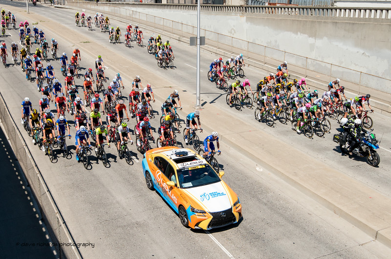 Riders roll out on neutralized start of Men's Stage Five, Stockton to Elk Grove, 2018 Amgen Tour of California cycling race (Photo by Dave Richards, daverphoto.com)