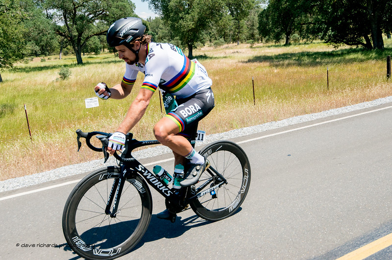 Peter Sagan (Bora Hansgrohe) ponders what's for lunch. Men's Stage Five, Stockton to Elk Grove, 2018 Amgen Tour of California cycling race (Photo by Dave Richards, daverphoto.com)