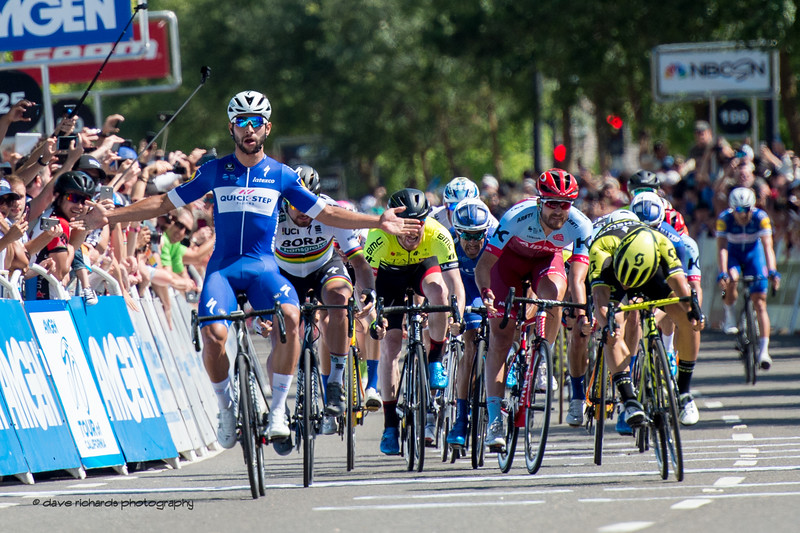 Gaviria (Quick-Step Floors)  celebrates the wind on Men's Stage Five, Stockton to Elk Grove, 2018 Amgen Tour of California cycling race (Photo by Dave Richards, daverphoto.com)