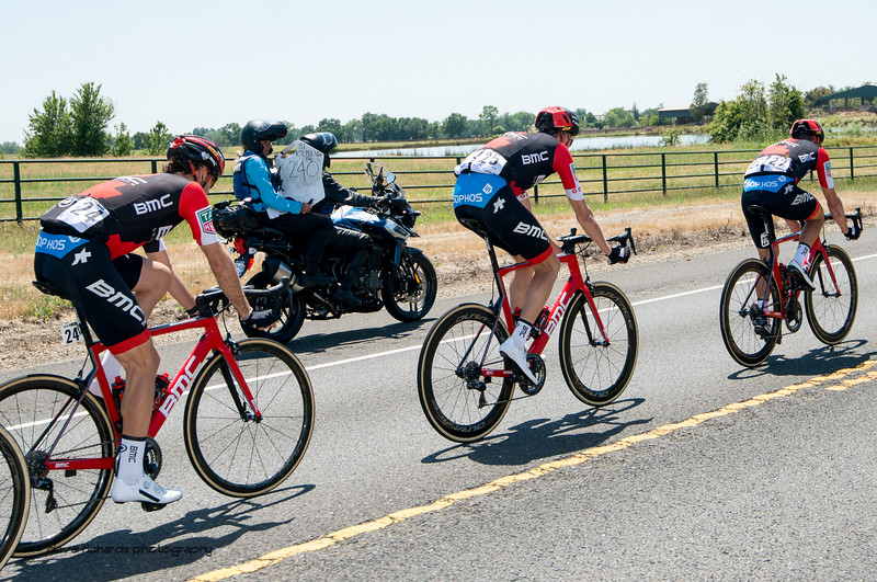 The timeboard moto displays how far ahead the breakaway is from the peloton. Men's Stage Five, Stockton to Elk Grove, 2018 Amgen Tour of California cycling race (Photo by Dave Richards, daverphoto.com)