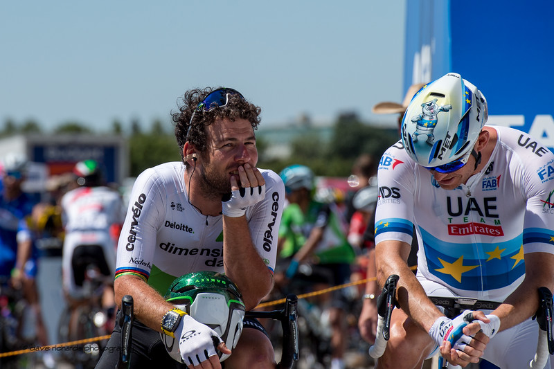 Mark Cavendish (Dimension Data) contemplating the start of Men's Stage Five, Stockton to Elk Grove, 2018 Amgen Tour of California cycling race (Photo by Dave Richards, daverphoto.com)