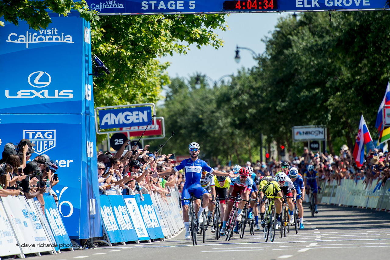 Gaviria (Quick-Step Floors) wins a hard fought sprint with Ewan (Mitchelton-Scott) and Peter Sagan (Bora Hansgrohe) to take the stage win. Men's Stage Five, Stockton to Elk Grove, 2018 Amgen Tour of California cycling race (Photo by Dave Richards, daverphoto.com)