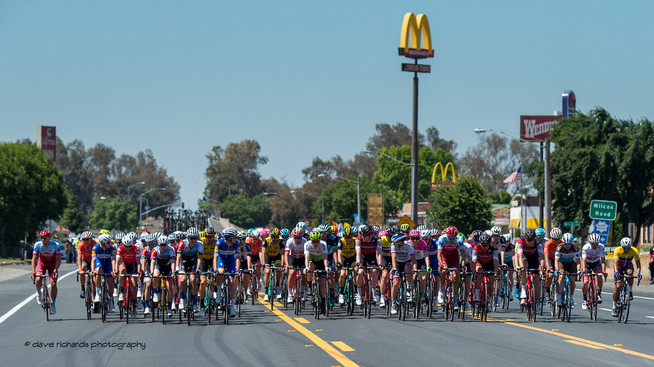Slice of Americana - Golden Arches greets the peloton. Men's Stage Five, Stockton to Elk Grove, 2018 Amgen Tour of California cycling race (Photo by Dave Richards, daverphoto.com)