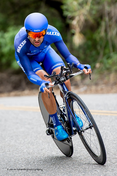 UHC rider focused on a fast descent on Men's Stage Four, Individual Time Trial, Morgan Hill, 2018 Amgen Tour of California cycling race (Photo by Dave Richards, daverphoto.com)