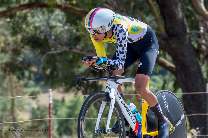Egan Bernal (Team Sky) up & coming superstar from Colombia. Men's Stage Four, Individual Time Trial, Morgan Hill, 2018 Amgen Tour of California cycling race (Photo by Dave Richards, daverphoto.com)