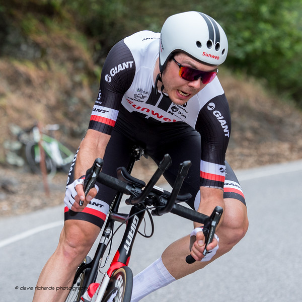 Team Sunweb rider hammers a tight turn on the Men's Stage Four, Individual Time Trial, Morgan Hill, 2018 Amgen Tour of California cycling race (Photo by Dave Richards, daverphoto.com)